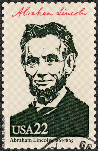 USA - 1986: shows Portrait of Abraham Lincoln (1809-1865), 16th president of the Canvas Print