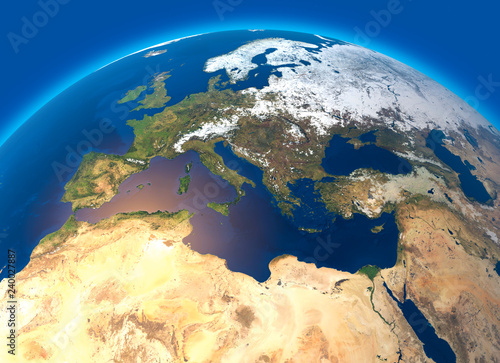 Cartina Satellitare Mondo.Cartina Fisica Del Mondo Vista Satellitare Dell Europa E Africa Del Nord Globo Emisfero Rilievi E Oceani 3d Rendering Buy This Stock Illustration And Explore Similar Illustrations At Adobe Stock Adobe