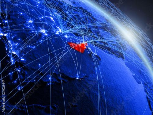 Fototapeta  United Arab Emirates from space on model of blue digital planet Earth
