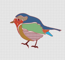Little Bird Made Of All Kinds Of Pieces Of Fabric Fastened With Cross Stitches On A Checkered Fabric Surface.