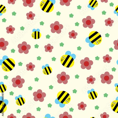 wzor-pszczol-i-kwiatow