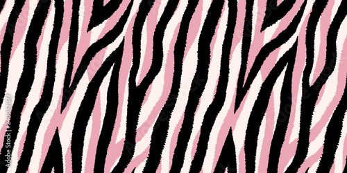 Seamless pattern with pastel pink and black zebra stripes. Vector wallpaper. - 240032027