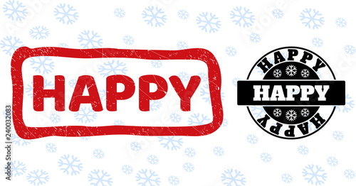 Happy stamp seals on winter background with snowflakes in clean and draft versions for New Year Canvas Print