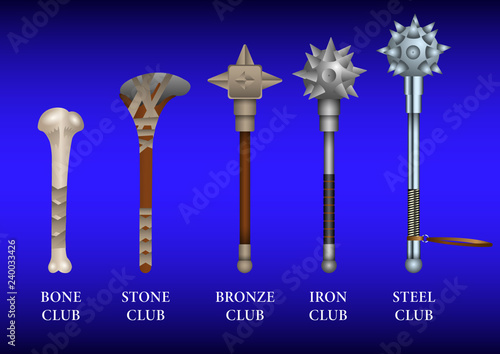 Photo  realistic set of historical fighting Clubs: bone, stone, bronze, iron, steel