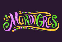 Vector Lettering For Mardi Gras Carnival, Filigree Calligraphic Font With Traditional Symbol Of Mardi Gras - Fleur De Lis, Elegant Fancy Logo With Greeting Slogan, Twirls And Dots On Dark Background.
