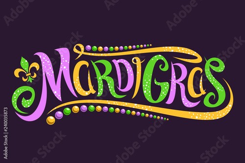Photo Vector lettering for Mardi Gras carnival, filigree calligraphic font with traditional symbol of mardi gras - fleur de lis, elegant fancy logo with greeting slogan, twirls and dots on dark background