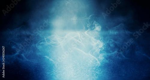 Fototapety, obrazy: Dark blue background of an empty foggy street with wet asphalt, illuminated by a searchlight, laser beams, smoke