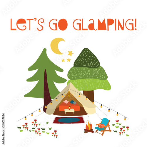 Camping Christmas Cards.Lets Go Glamping Summer Camping Scene Vector Illustration