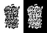Fototapeta Młodzieżowe - Handwritten graffiti font alphabet n black over white, and white over black. Vector illustration.