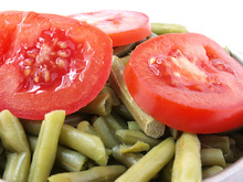 Green Peas And Red Tomato In Bowl