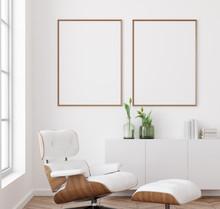 Mockup Poster Frame In White Living Room Interior Background, Scandinavian Style, 3d Render