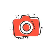 Photo Camera Icon In Comic Style. Photographer Cam Equipment Vector Cartoon Illustration Pictogram. Camera Business Concept Splash Effect.