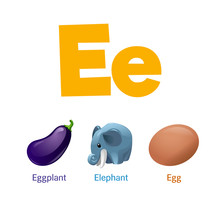 Cute Children ABC Animal Alphabet Flashcard Words With The Letter E For Kids Learning English Vocabulary.