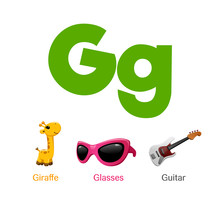 Cute Children ABC Animal Alphabet Flashcard Words With The Letter G For Kids Learning English Vocabulary.