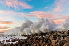 Waves Over The Breakwater Rocks