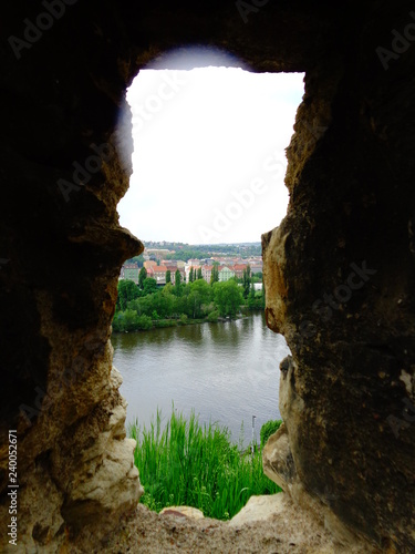 view from loopholes vysehrad fortress Prague, Czech Republic