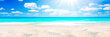 Sandy Seashore With Tropical Water, Clouds And Sunshine Background