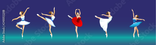 Foto vector set of ballerinas in different poses on dark background