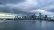 Miami Downtown Skyline and Bay at Sunset. Day to Night Time Lapse. United States of America