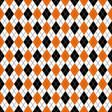 Orange And Black Argyle Seamle...