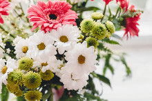 Pink Gerbera,white Daisy And Green Chrysanthemum In Beautiful Bright  Bouquet At Rustic Window In Light. Wedding Invitation,happy Mother Day Or Valentine Day Concept. Hello Spring