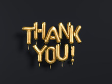 Thank You Text Gold Foil Balloons On Black Background, 3d Rendering