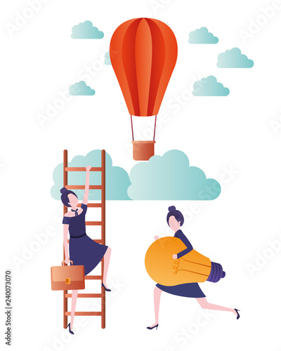 women with aerostatic balloon avatar character Wallpaper Mural