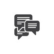 Forum chat comment vector icon. filled flat sign for mobile concept and web design. Speech bubbles messages simple solid icon. Symbol, logo illustration. Pixel perfect vector graphics