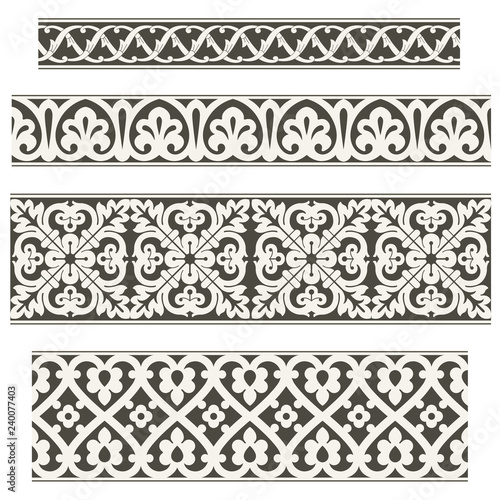 Valokuva  Oriental vector ornament, used for decoration of frames and borders, black and white, and monotonous