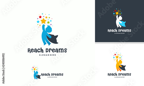 Reaching Star Logo Online Learning Logo Designs Super Kids Reach Dreams Logo Kids Hero Logo Buy This Stock Vector And Explore Similar Vectors At Adobe Stock Adobe Stock