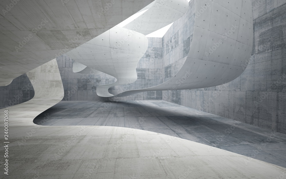Fototapeta Empty dark abstract concrete smooth interior . Architectural background. 3D illustration and rendering