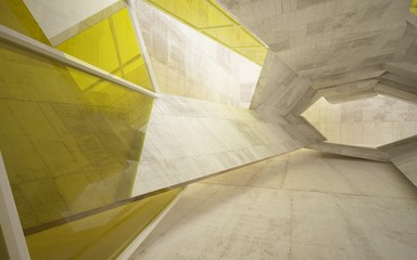 Abstract interior of concrete with yellow glass . Architectural background. 3D illustration and rendering