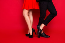 Cropped Legs Of Two Nice Elegant Imposing Trendy Luxurious Styli