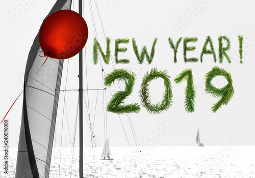 2019 New Year  Two thousand nineteen  Letters and numbers