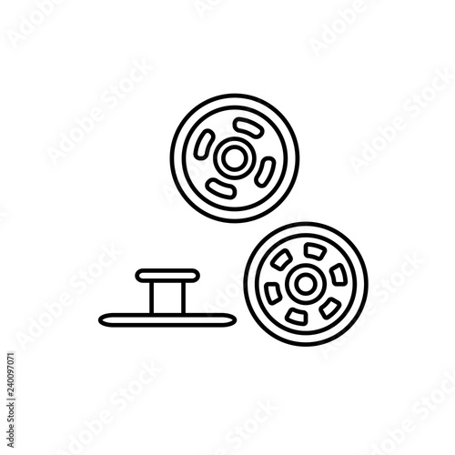Foto Black & white illustration of metal snap fasteners