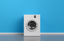 Washing Machine At Blue Wall, Frontal View With Copy Space,3d Rendering (general Design And Captions)