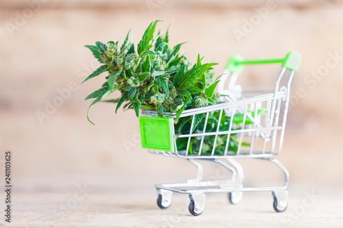 Photo  supermarket trolley marijuana medical cannabis  cbd