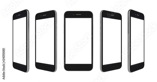 Foto  Perspective concept of black and gray empty screen smartphone isolated on white