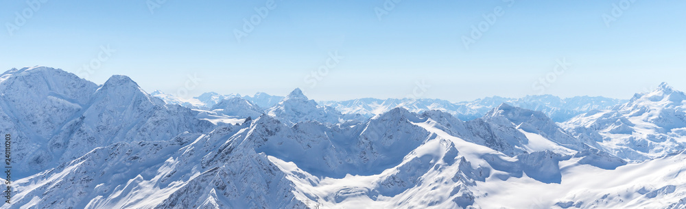 Fototapety, obrazy: White snowy winter Caucasus mountains at sunny day. Panorama view from ski slope Elbrus, Russia