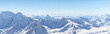 Leinwanddruck Bild White snowy winter Caucasus mountains at sunny day. Panorama view from ski slope Elbrus, Russia