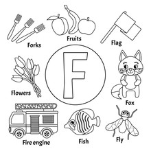 Vector Cute Kids Animal Alphabet. Letter F. Set Of Cute Cartoon Illustrations. Coloring Page.