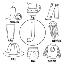 Vector Cute Kids Animal Alphabet. Letter J. Set Of Cute Cartoon Illustrations. Coloring Page.