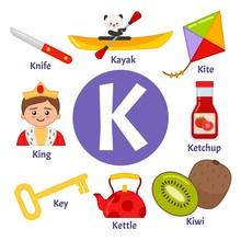 Vector Cute Kids Animal Alphabet. Letter K. Set Of Cute Cartoon Illustrations.