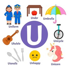 Vector Cute Kids Animal Alphabet. Letter U. Set Of Cute Cartoon Illustrations.