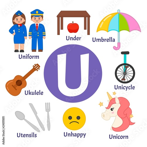 Vector cute kids animal alphabet. Letter U. Set of cute cartoon ...