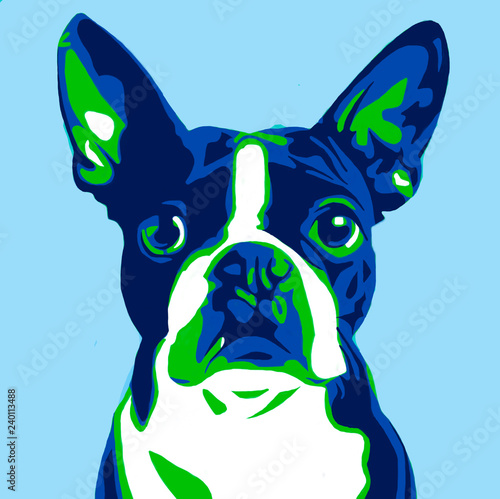 Stickers pour porte Pop Art illustration of a dog in the style of pop art