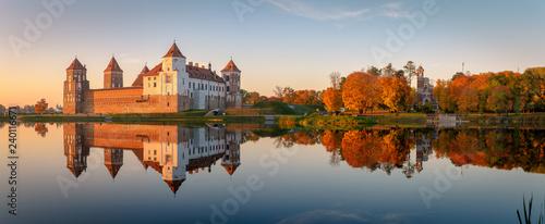 Mir castle in the sunsetlight. Belarus. Panorama