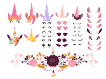 Unicorn Face Creation Kit Vect...