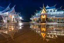 Thai Temple Beautiful At Night Twilight Blue Sky And Light Reflect On Ground - Wat Pa Phu Kon Udon Thani Thailand
