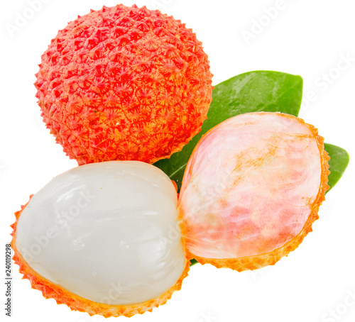 litchis rouges, fond blanc